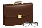 서류가방과 안경 템플릿
