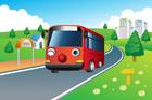 도로 위에 버스 템플릿