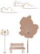나무벤치 가로등 템플릿