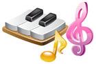 피아노건반과 음표 템플릿