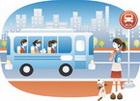 버스를 기다리는 여학생 템플릿