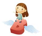 알파벳B에 앉아있는 여자아이 템플릿