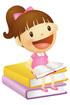 책위에 앉아있는 여자아이 템플릿