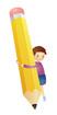 연필들고있는 남자아이 템플릿