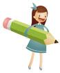 연필들고있는 여자아이 템플릿