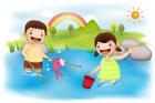 냇가에서 물고기잡는 아이들 템플릿