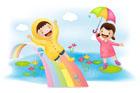 비오는 날의 아이들 템플릿