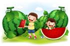 수박 먹는 아이들 템플릿