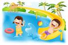 수영장에서 노는 아이들 일러스트/이미지