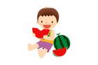 수박먹는 남자아이 일러스트/이미지
