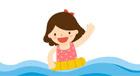 튜브타고 물놀이하는 여자아이 일러스트/이미지