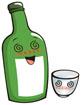 술취한 소주병과 소주잔 템플릿