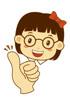 여자아이와 엄지손가락 템플릿