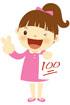 100점 시험지 들고있는 여자아이 템플릿