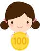 동전들고있는 여자아이 템플릿