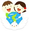 비둘기 위에 남한아이와 북한아이 템플릿