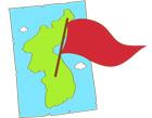 우리나라지도와 빨간색깃발 템플릿