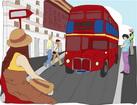 영국 이층버스와 관광객 템플릿