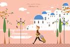 그리스 산토리니의 풍경 템플릿