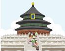 중국 건축물과 관광객 템플릿