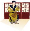 전통악기를 연주하는 몽골인 템플릿