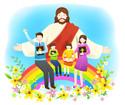 예수님과무지개에앉아있는가족 템플릿