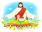 예수님과펼쳐진성경책 템플릿