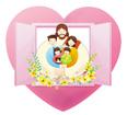 하트창문안의예수님과가족 템플릿