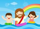 물놀이하는 예수님과 아이들 템플릿
