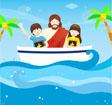 배타고있는 예수님과 아이들 템플릿