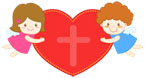 하트십자가와두천사 템플릿