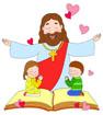 기도하는어린이와예수님 템플릿