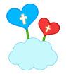 구름위하트십자가 템플릿