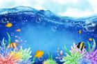 바다와 열대어 일러스트/이미지