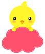 분홍색병아리글상자 일러스트/이미지