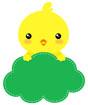 초록색병아리글상자 클립아트