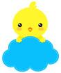 하늘색병아리글상자 클립아트