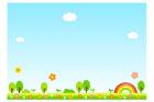 꽃동산풍경글상자 일러스트/이미지