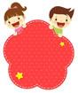 빨간색아이들글상자 클립아트