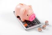 계산기 위에 돼지저금통과 동전 템플릿