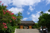 전통건물과 계단 템플릿