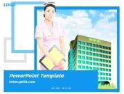 간호사와 병원건물 템플릿