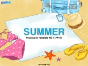 모래 위 수영복과 여행가방 템플릿