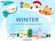 눈사람과 겨울풍경 템플릿