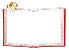 강아지가올라간책글상자 일러스트/이미지