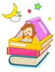 책위에서책보는소녀 일러스트/이미지