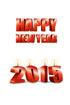 2015년 양초와 Happy New Year 글자 템플릿