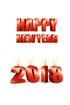 2018년 양초와 Happy New Year 글자 템플릿