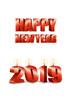 2019년 양초와 Happy New Year 글자 템플릿