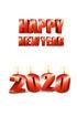 2020년 양초와 Happy New Year 글자 템플릿